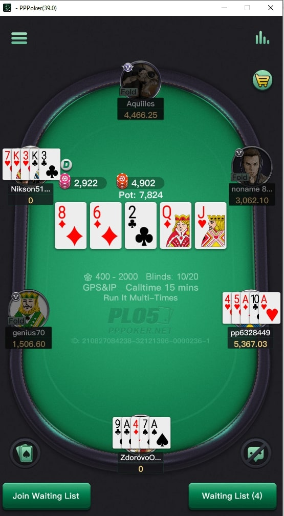 PPPoker Table with 15-minute Calltime