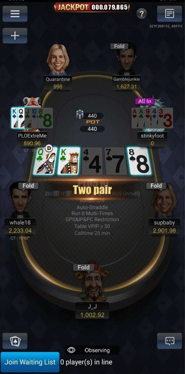 Call time display in Pokerbros table.