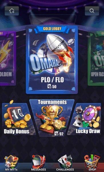 Pokerbros Omaha selection screen.