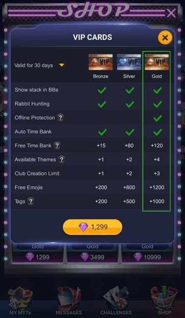 VIP cards in Pokerbros shop.