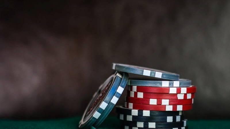 A small stack of poker chips.
